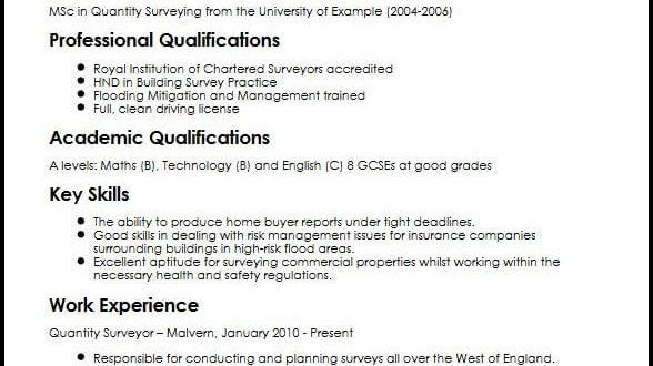 Cv Template Quantity Surveyor