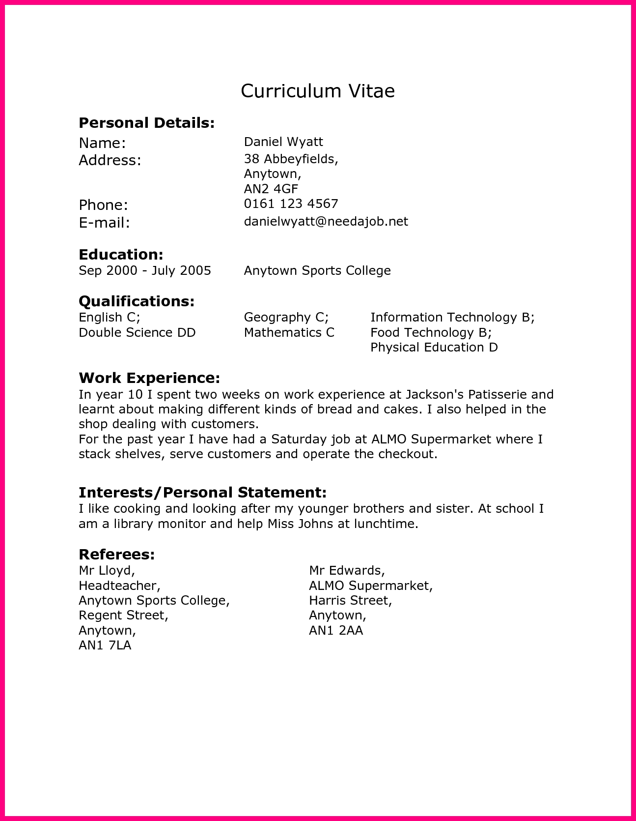 Cv Template Year 10 Resume Format