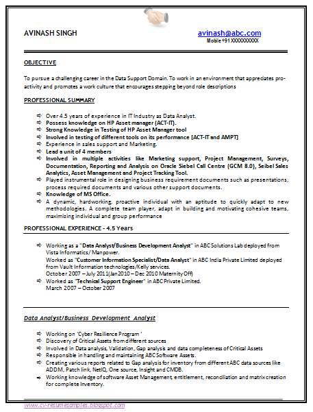 sample resume format for 5 years experience