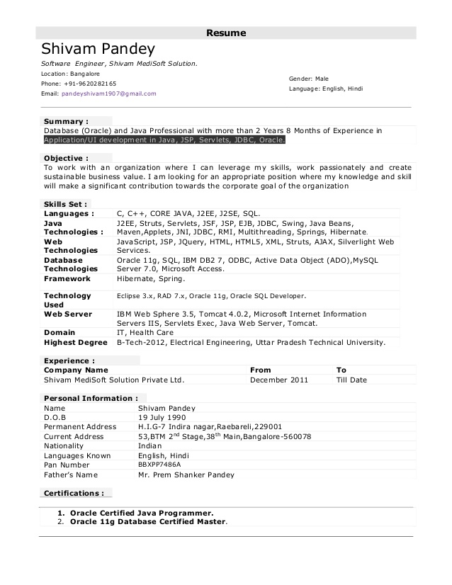 Resume Format 6 Years Software Engineer