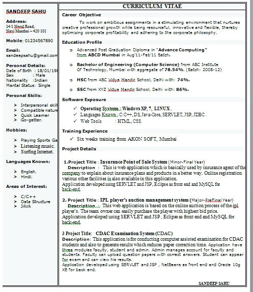 Keni Candlecomfortzone Com: 1 Page Resume Format For Freshers