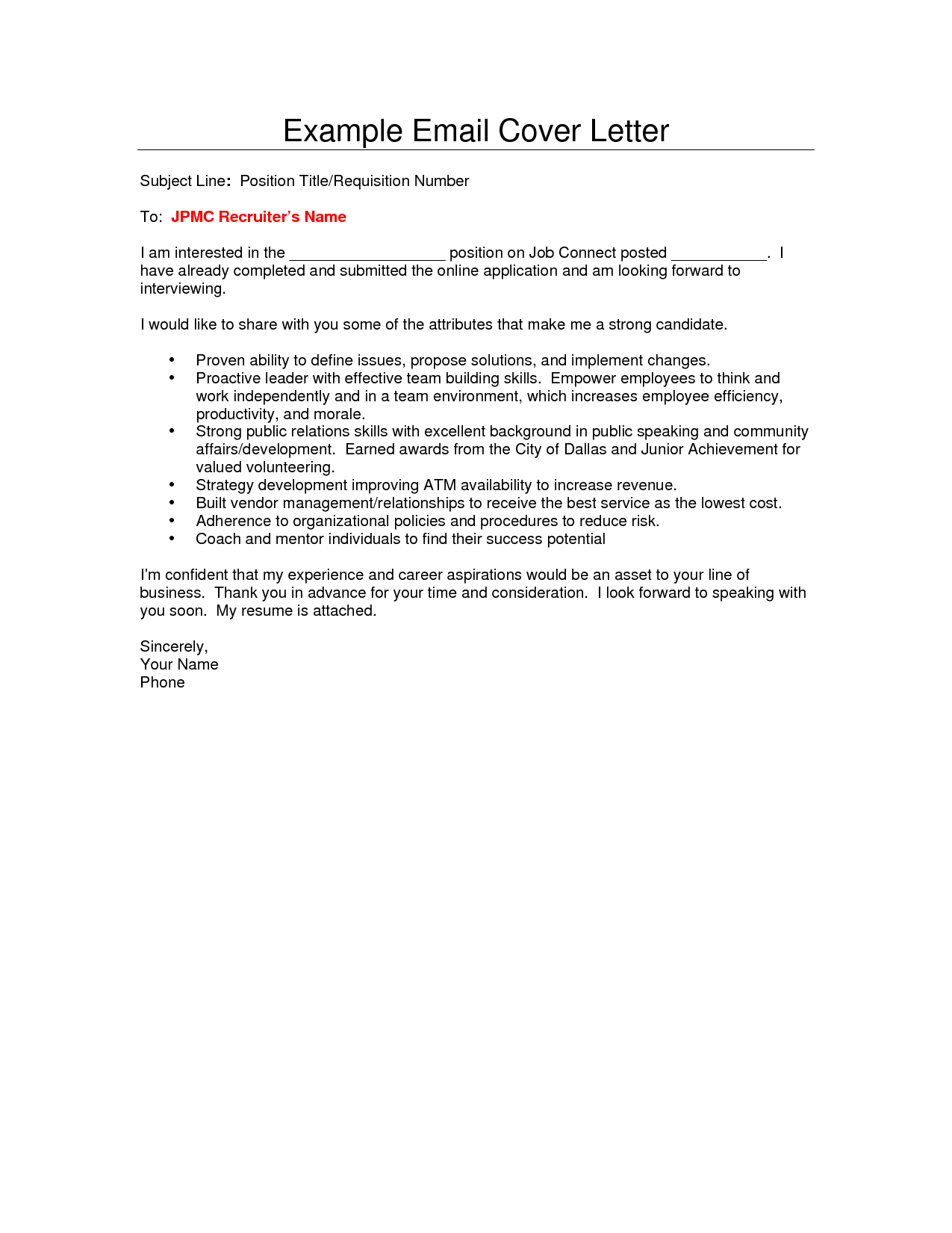 Email Job Cover Letter Template