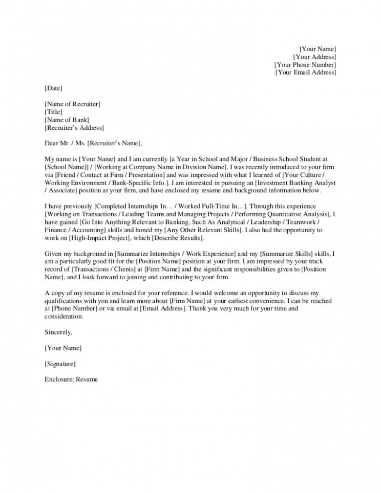 Cover Letter Template Investment Banking