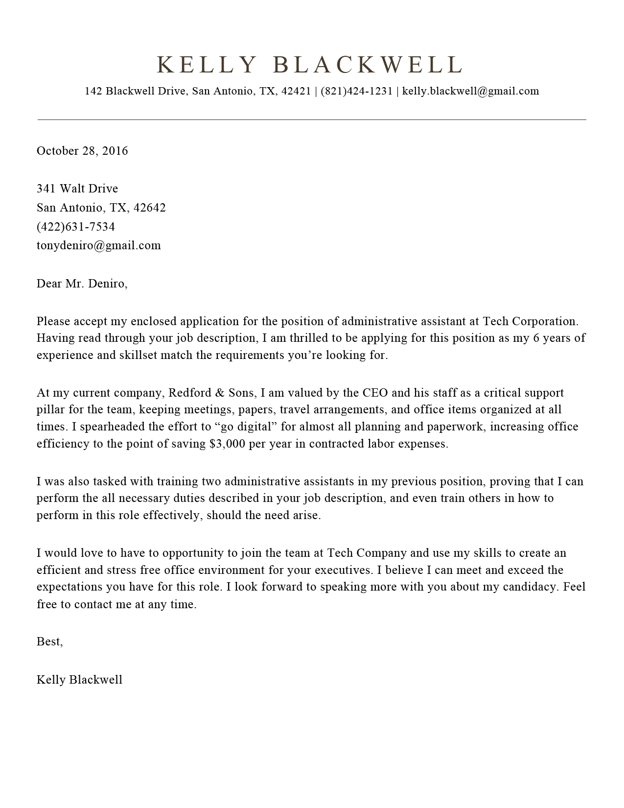 Cover Letter Template Builder