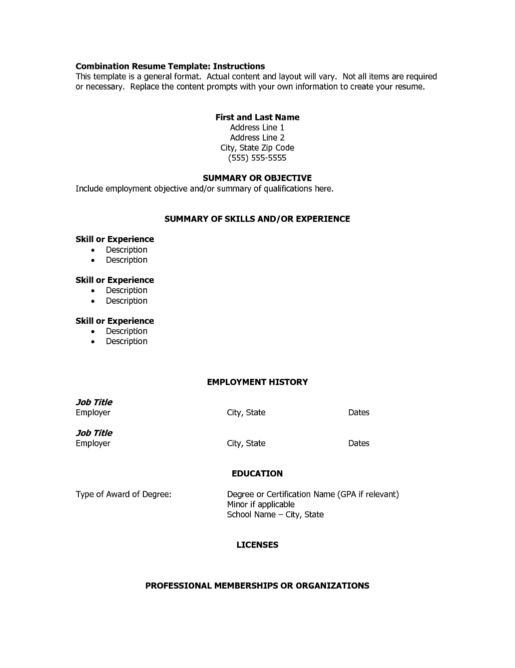 Resume Format Dates