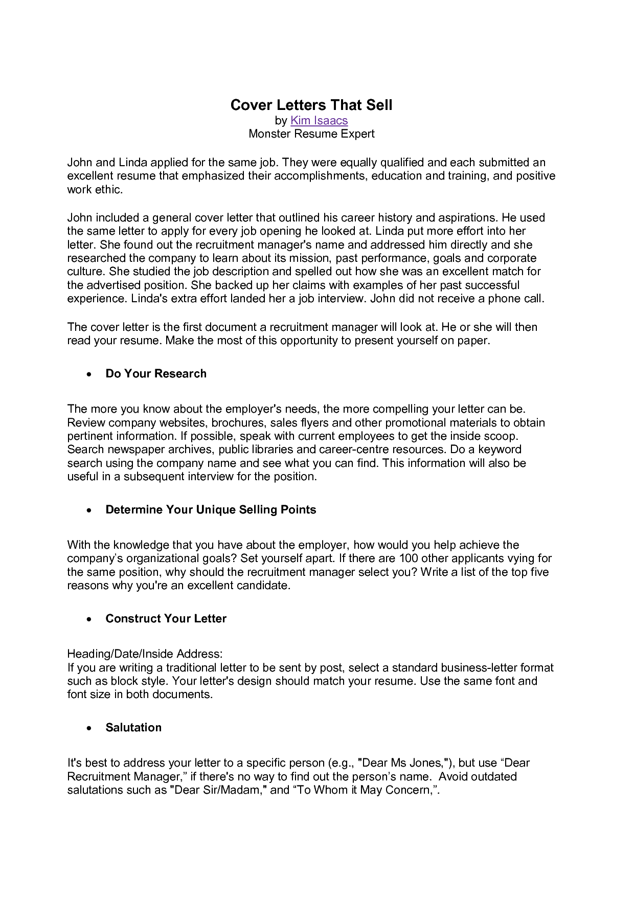 Cover Letter Template Monster