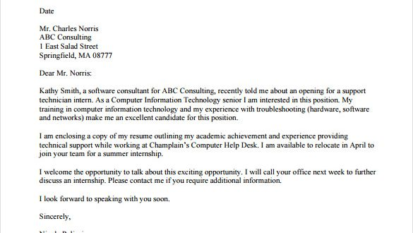 Email Cv Cover Letter Template