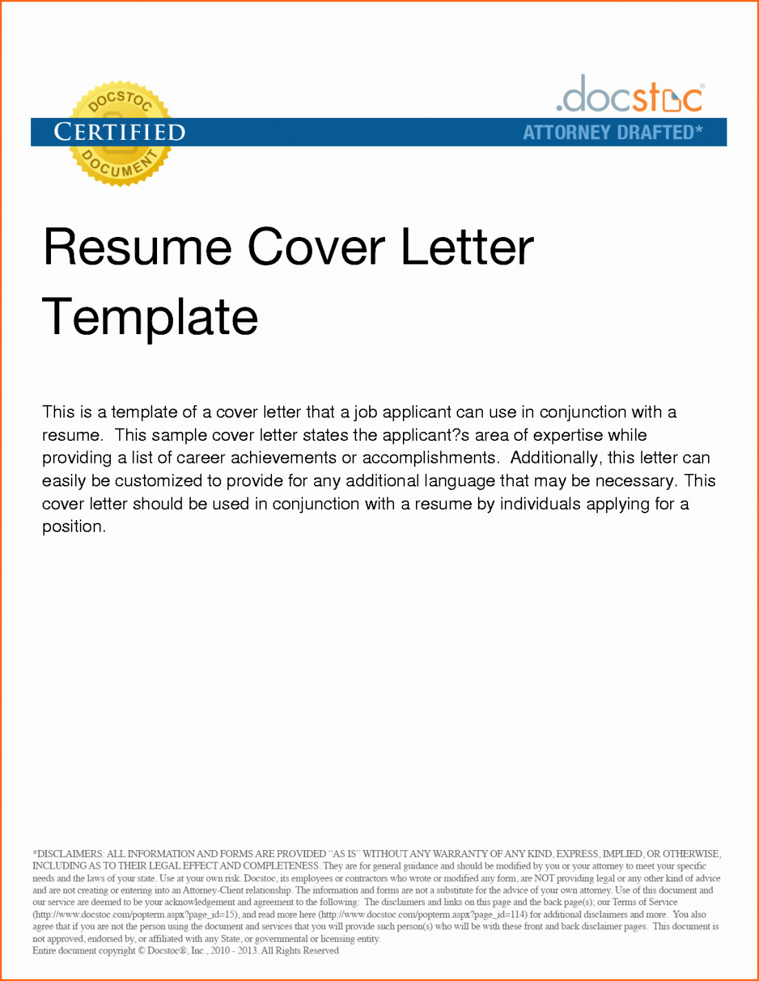 A Resume Cover Letter Template