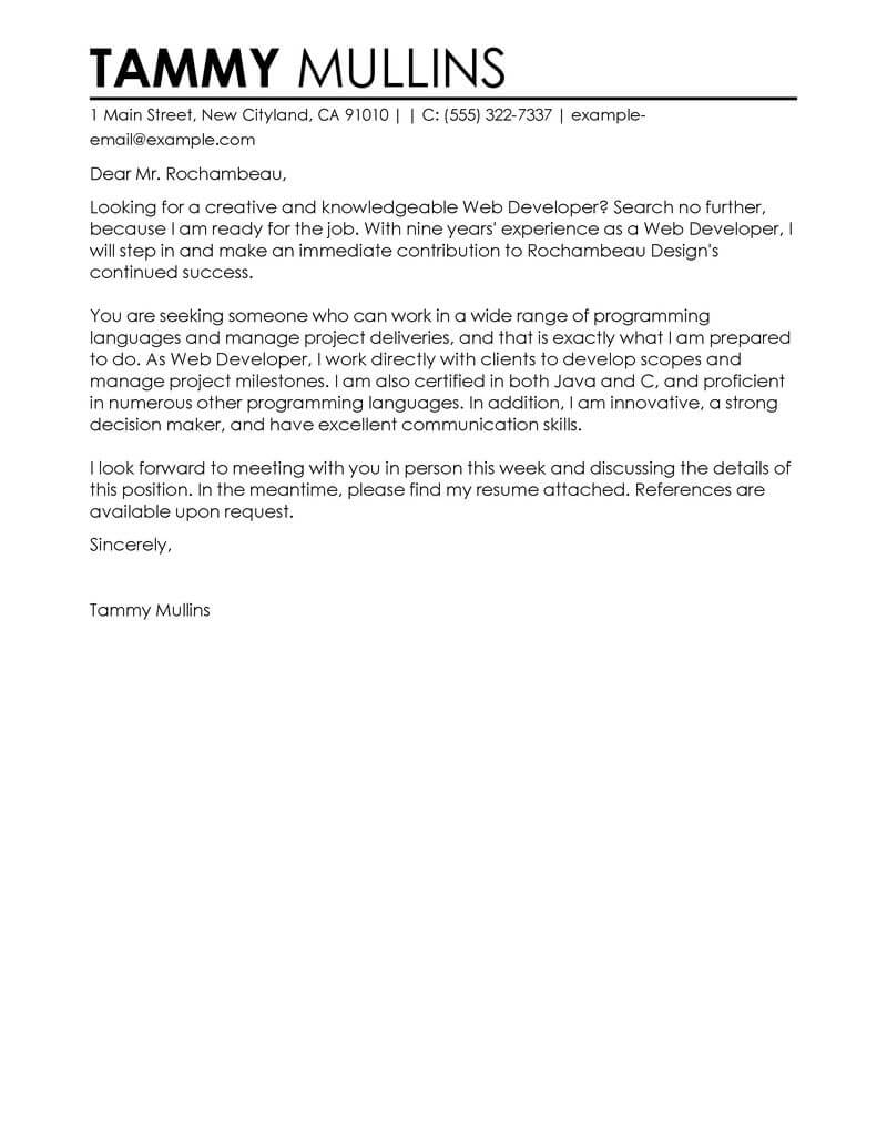 Cover Letter Template Web Developer