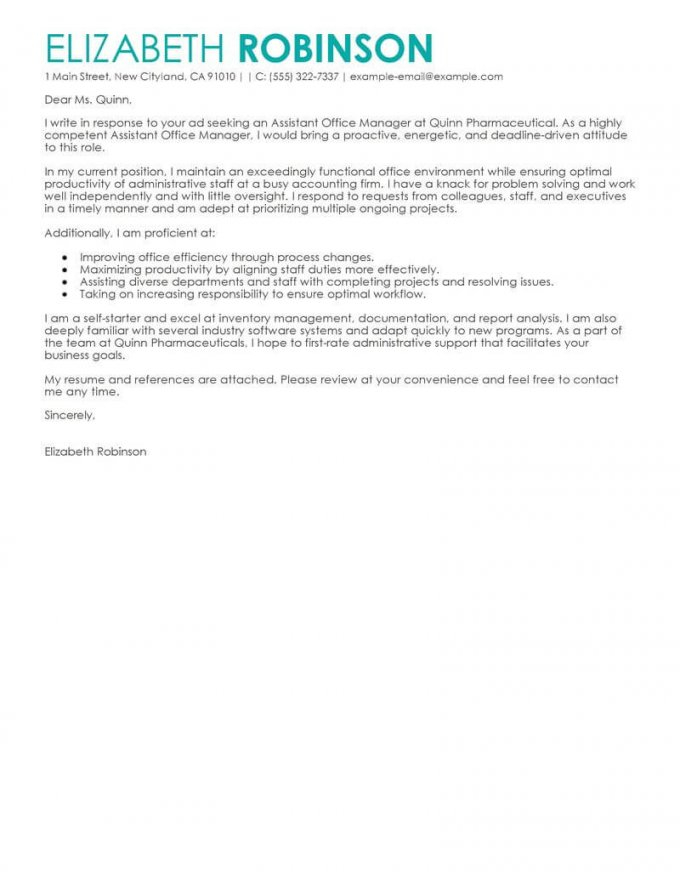 Cover Letter Template Livecareer