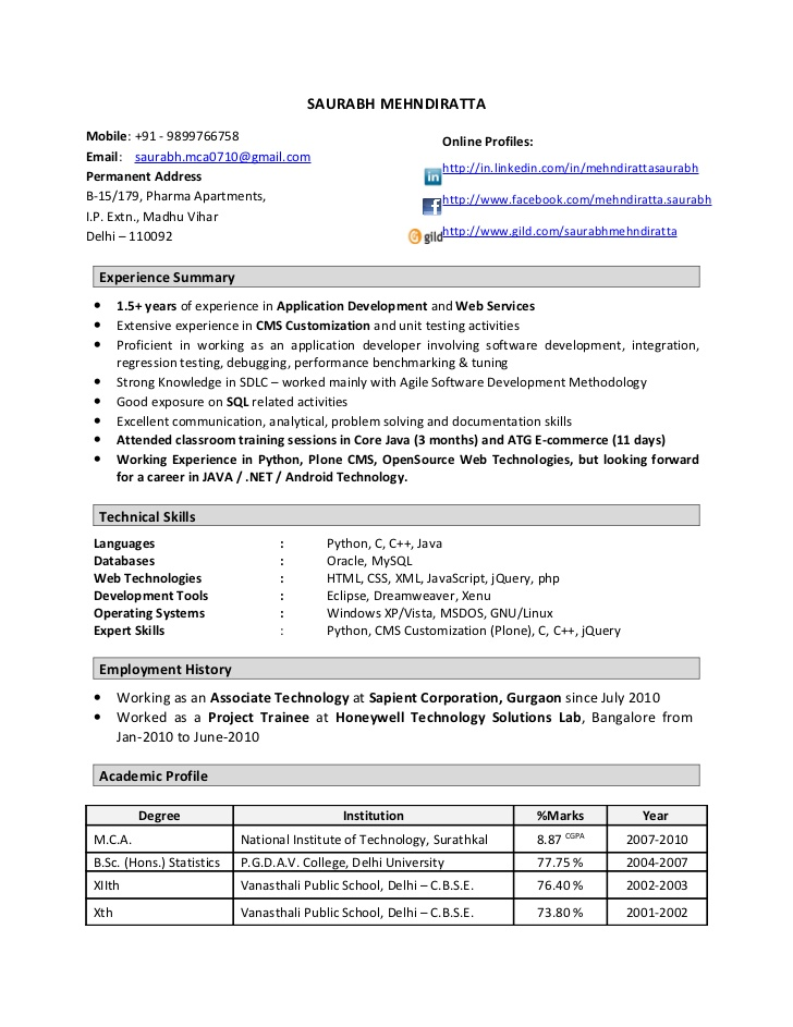 resume format 1 year experience