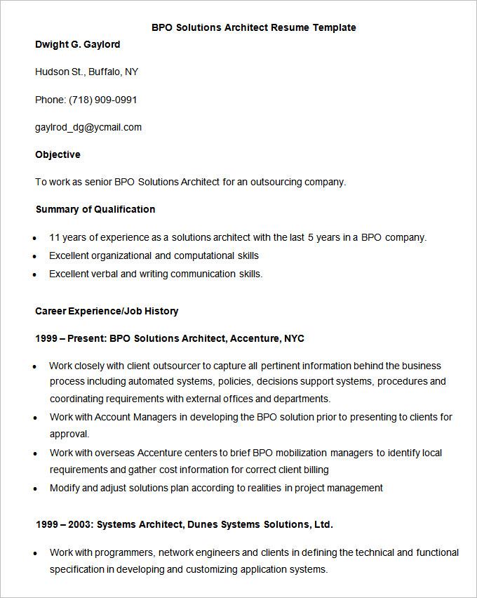 Resume Format Kpo