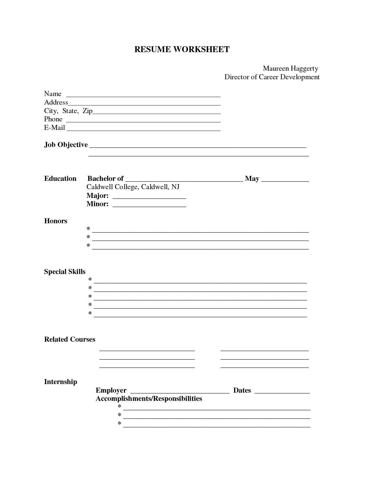 Resume Format Blank