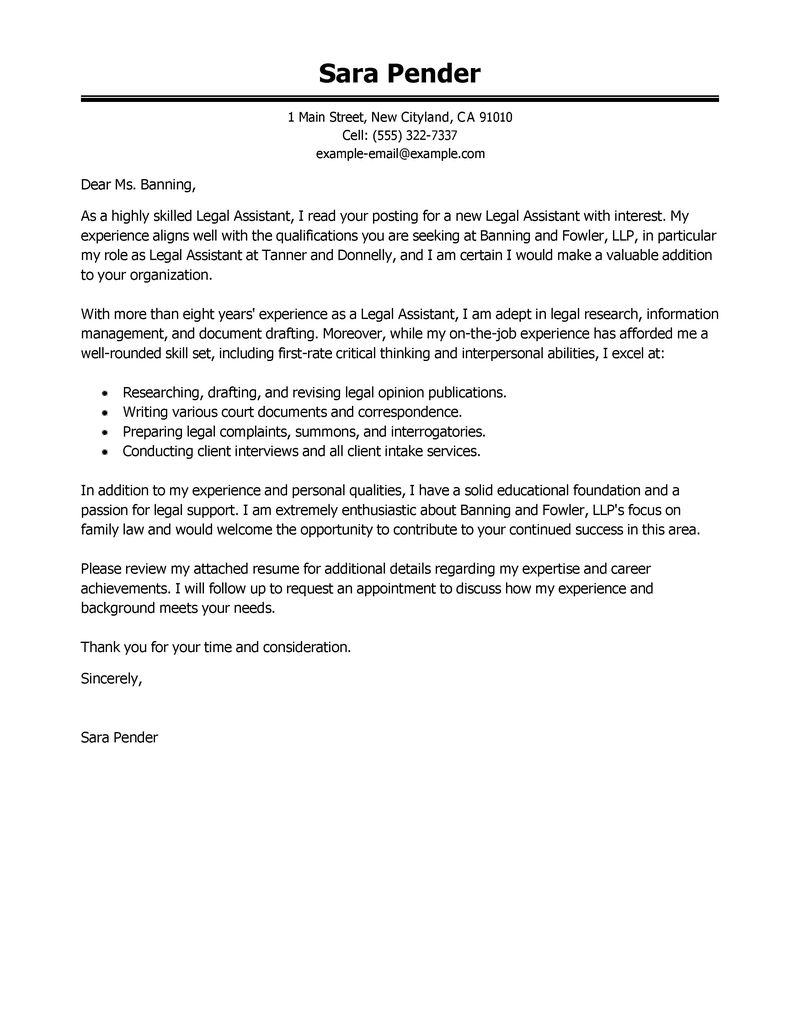 Cover Letter Template Legal