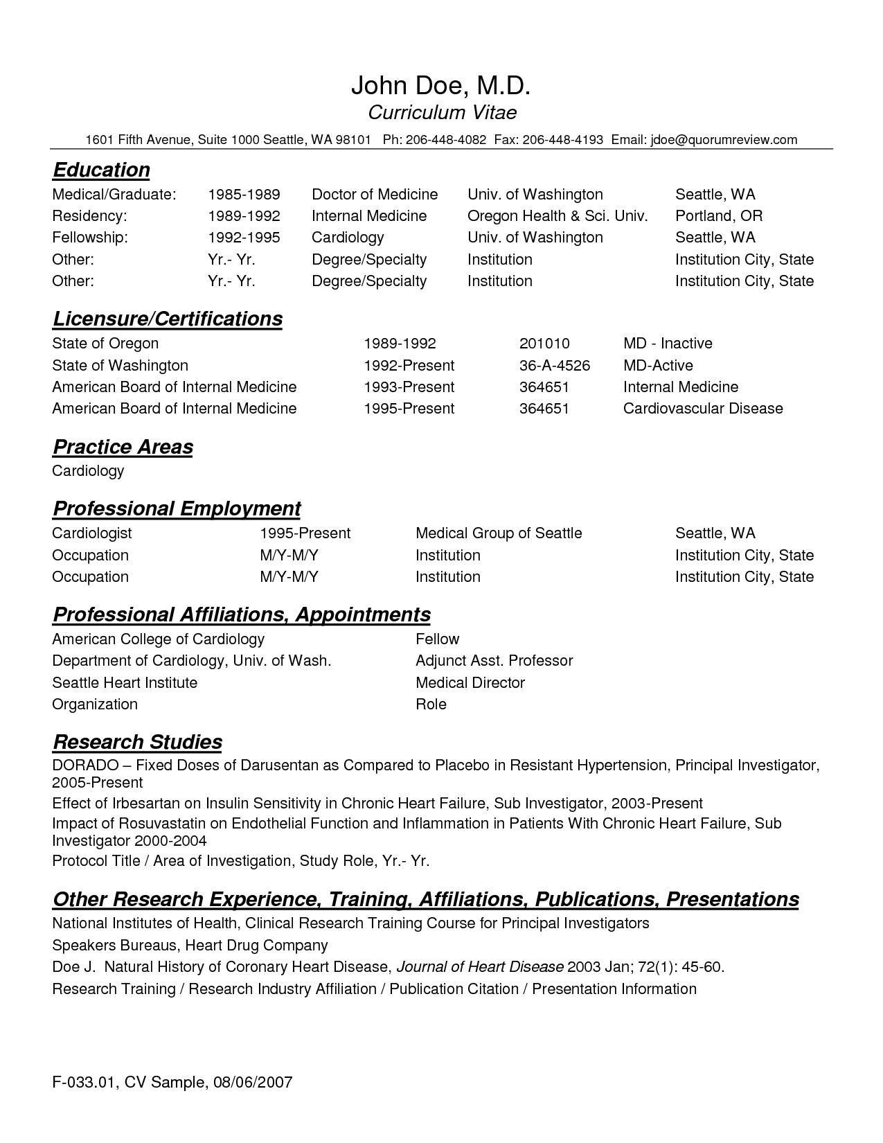 Cv Template Physician