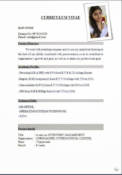 Resume Of Format