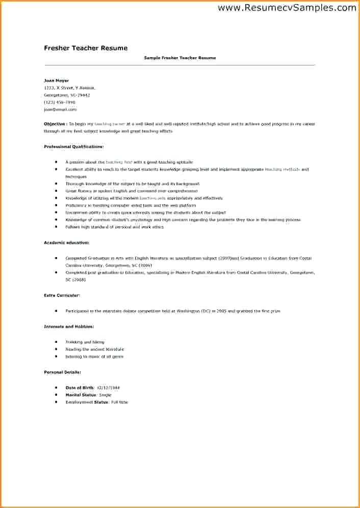 Pattern Of Resume Format