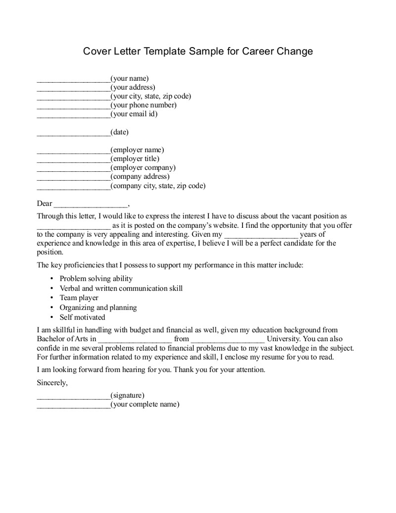Cover Letter Template Job Change
