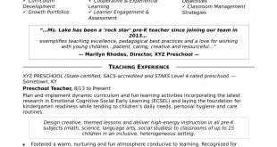 Resume Format Kindergarten Teacher