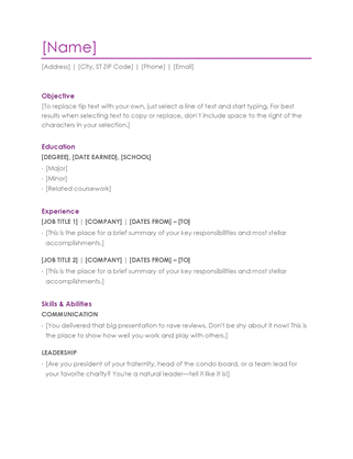 Resume With Cover Letter Template