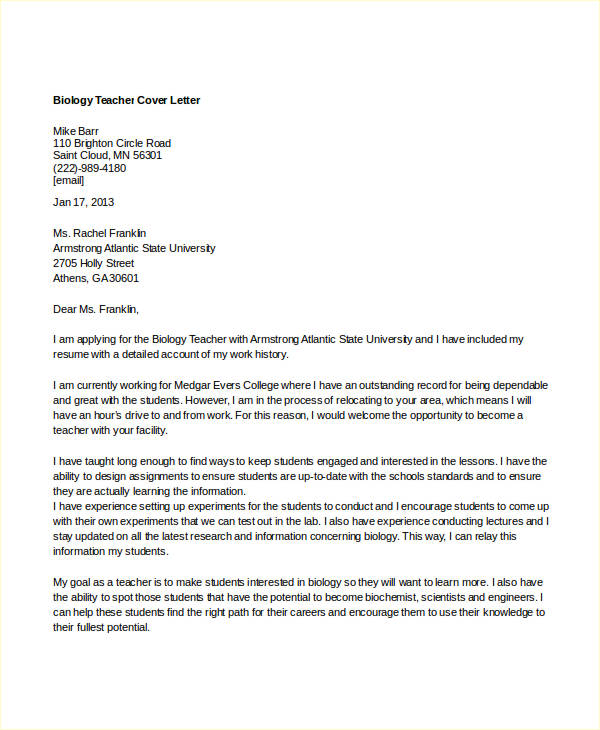 Cover Letter Template Biology