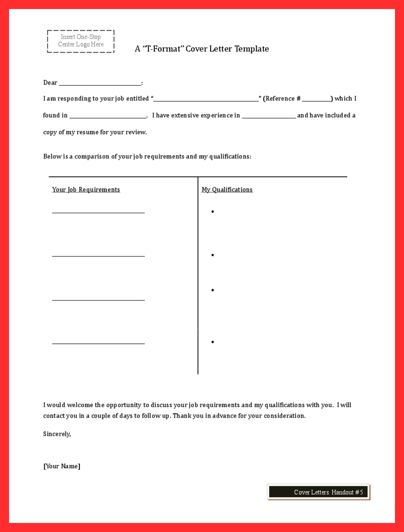 T Style Cover Letter Template