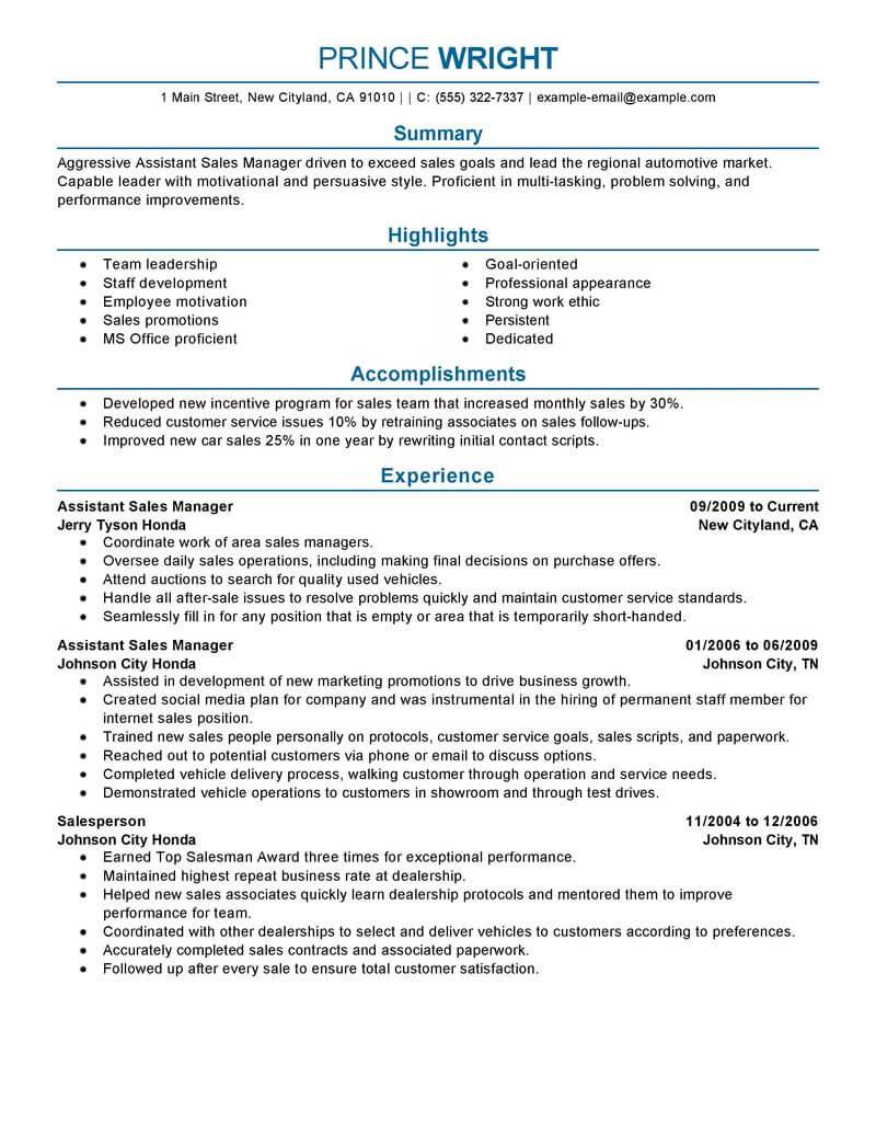 Resume Format Restaurant
