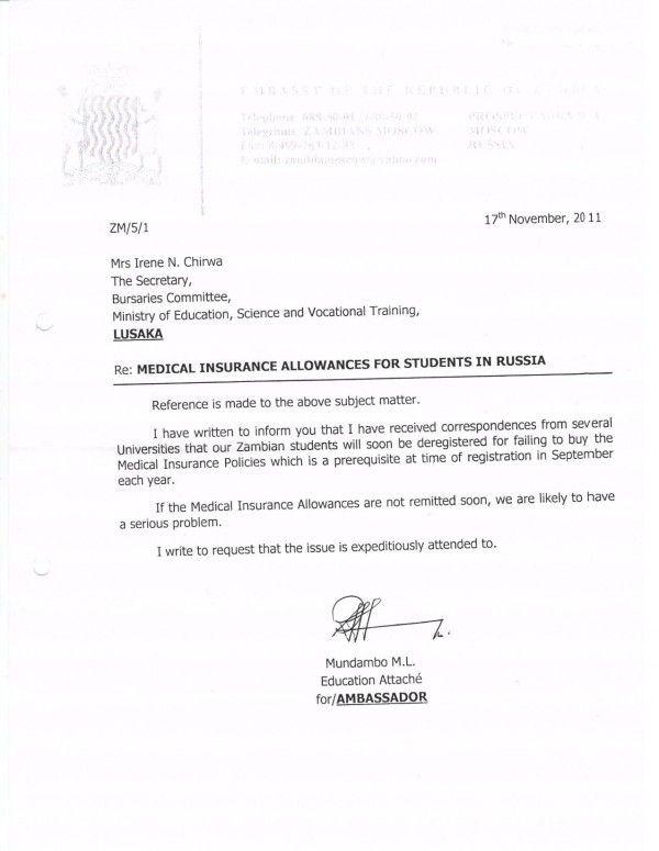 Zambia Visa Cover Letter Template
