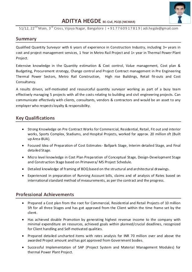 Cover Letter Template Quantity Surveyor - Resume Format