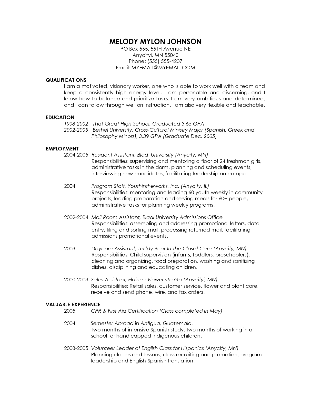 Resume Format Graduate School