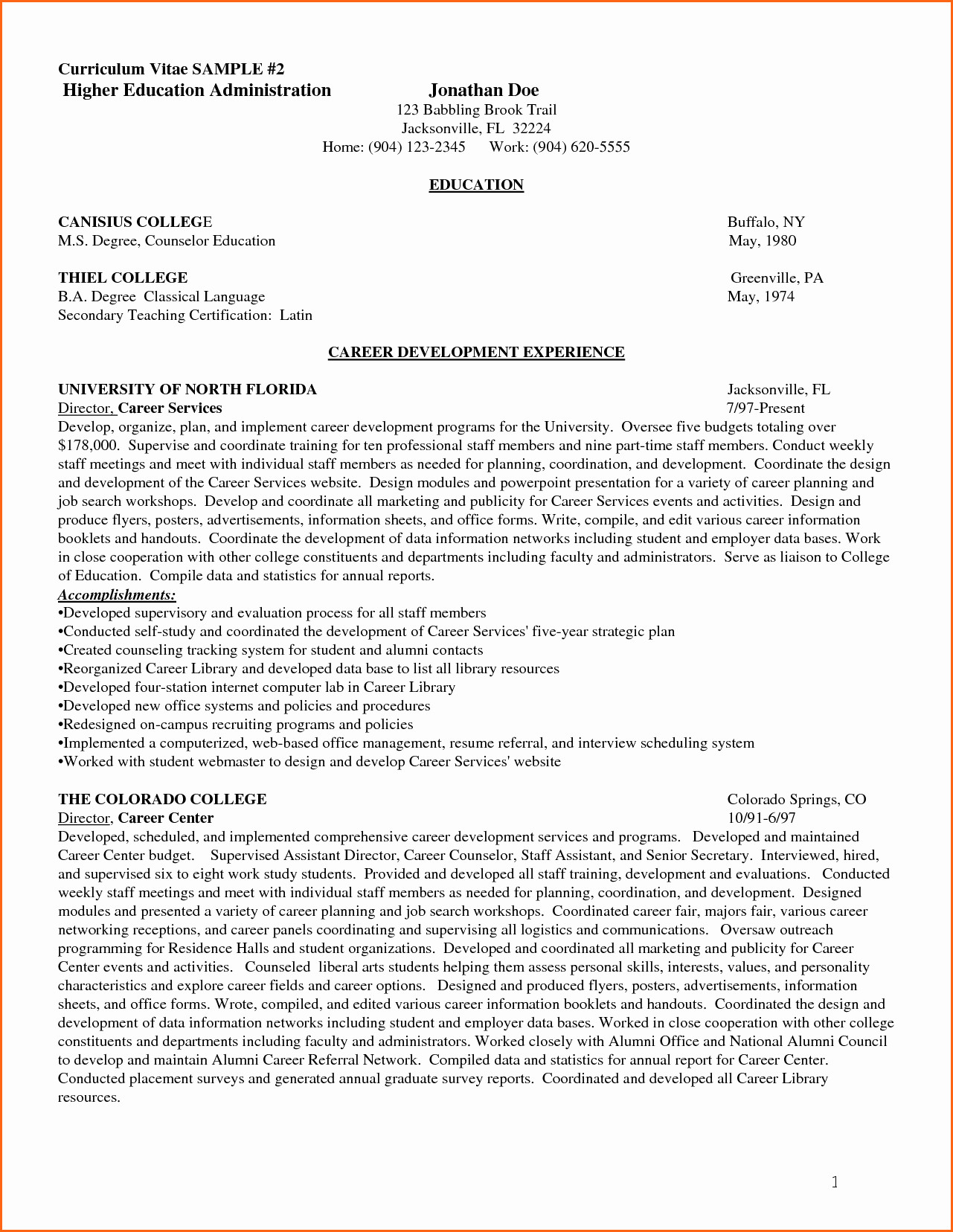 Cv Template Higher Education