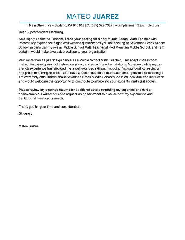Cover Letter Template Teacher