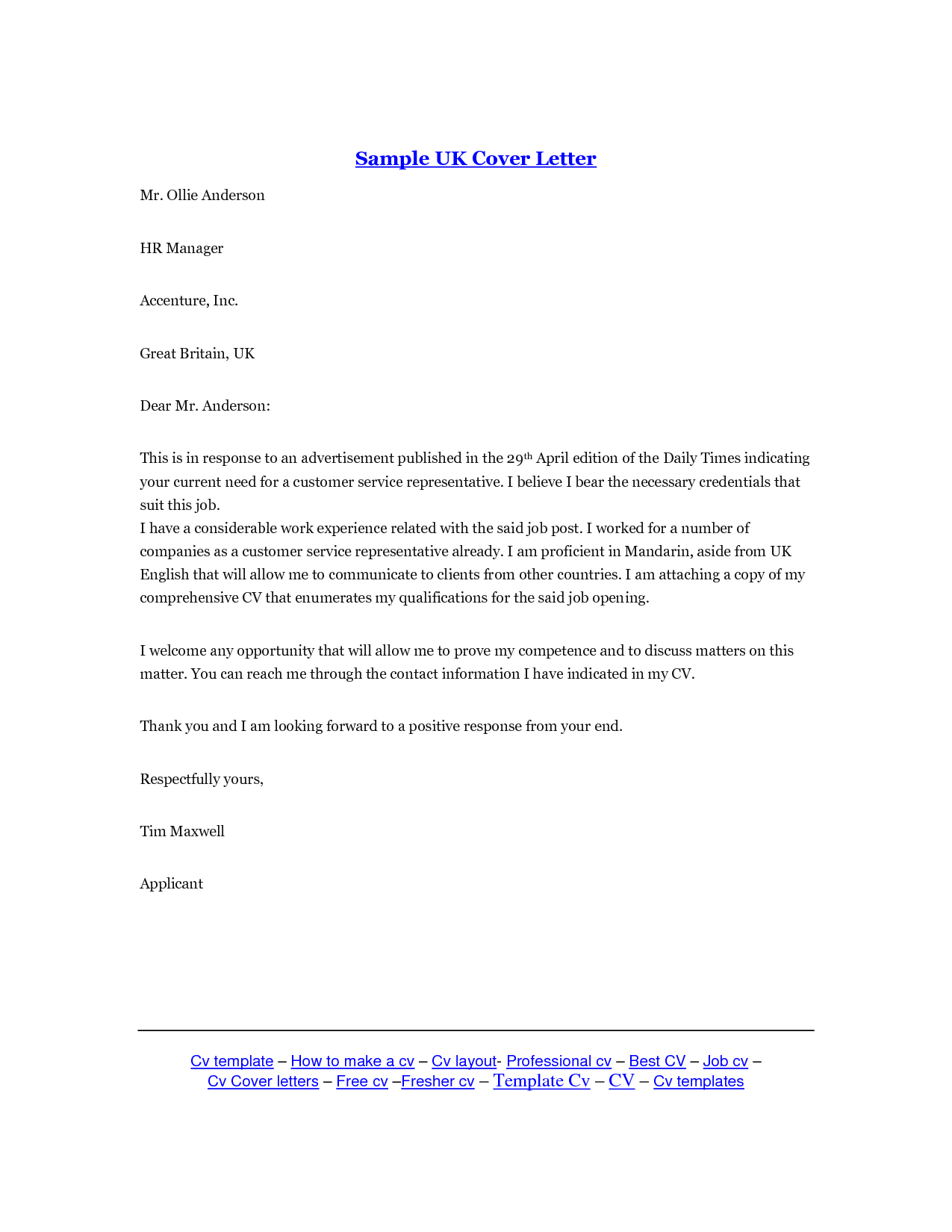 Cover Letter Template Uk 2016