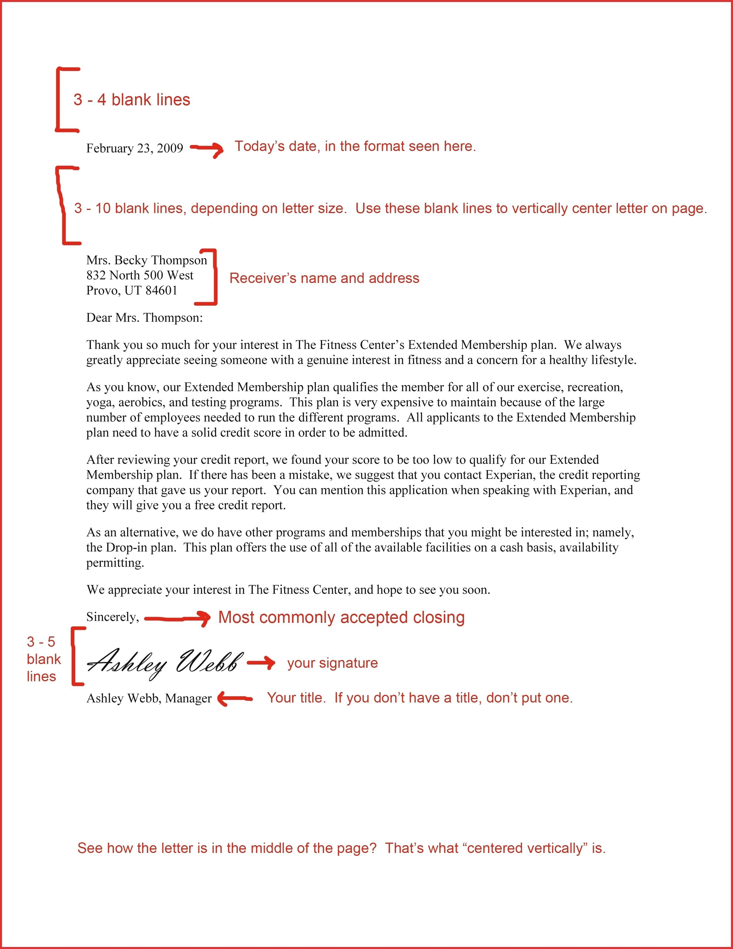 Cover Letter Template Spacing