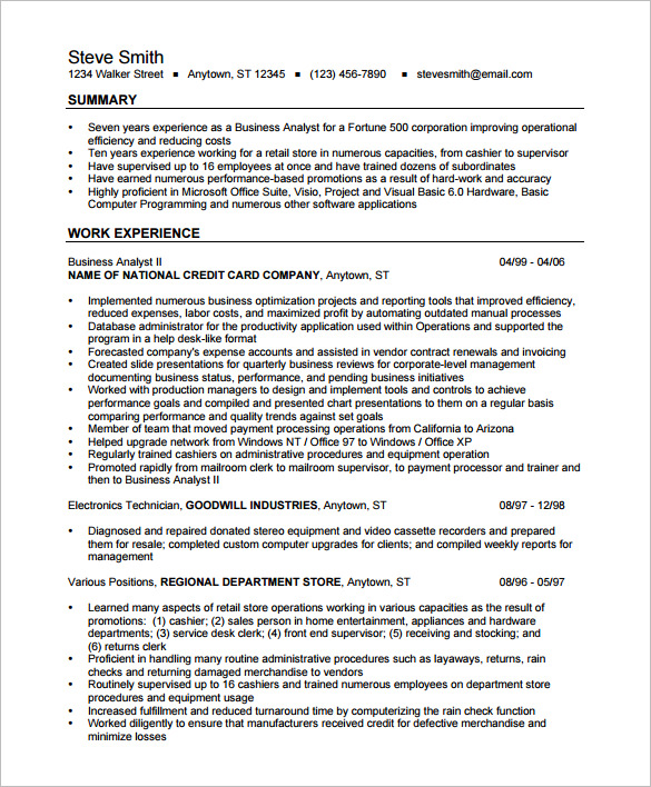 Resume Format Business