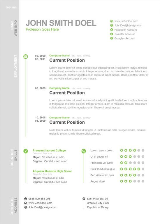 Cv Template One Page
