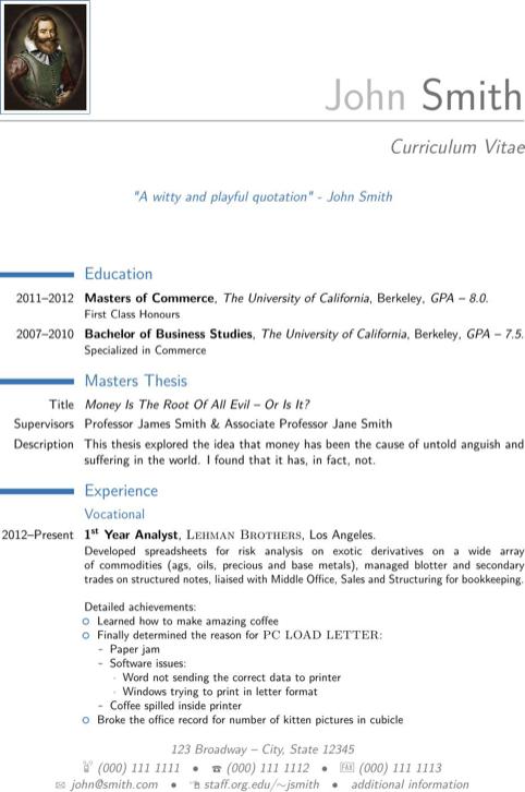 Cv Template Excel
