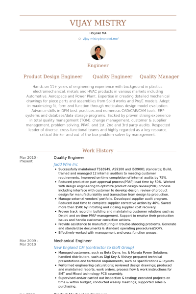 Resume Format Quality Engineer
