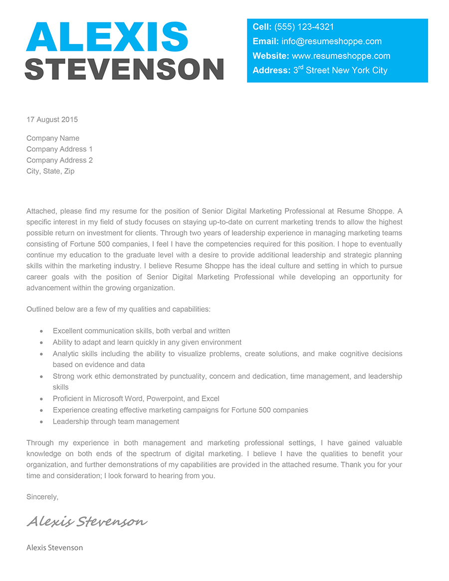 Cover Letter Template Creative