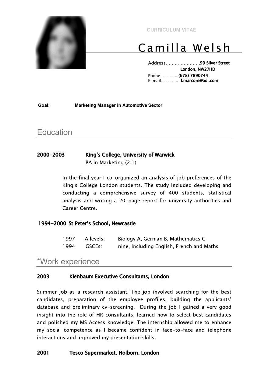 Cv Template For Students
