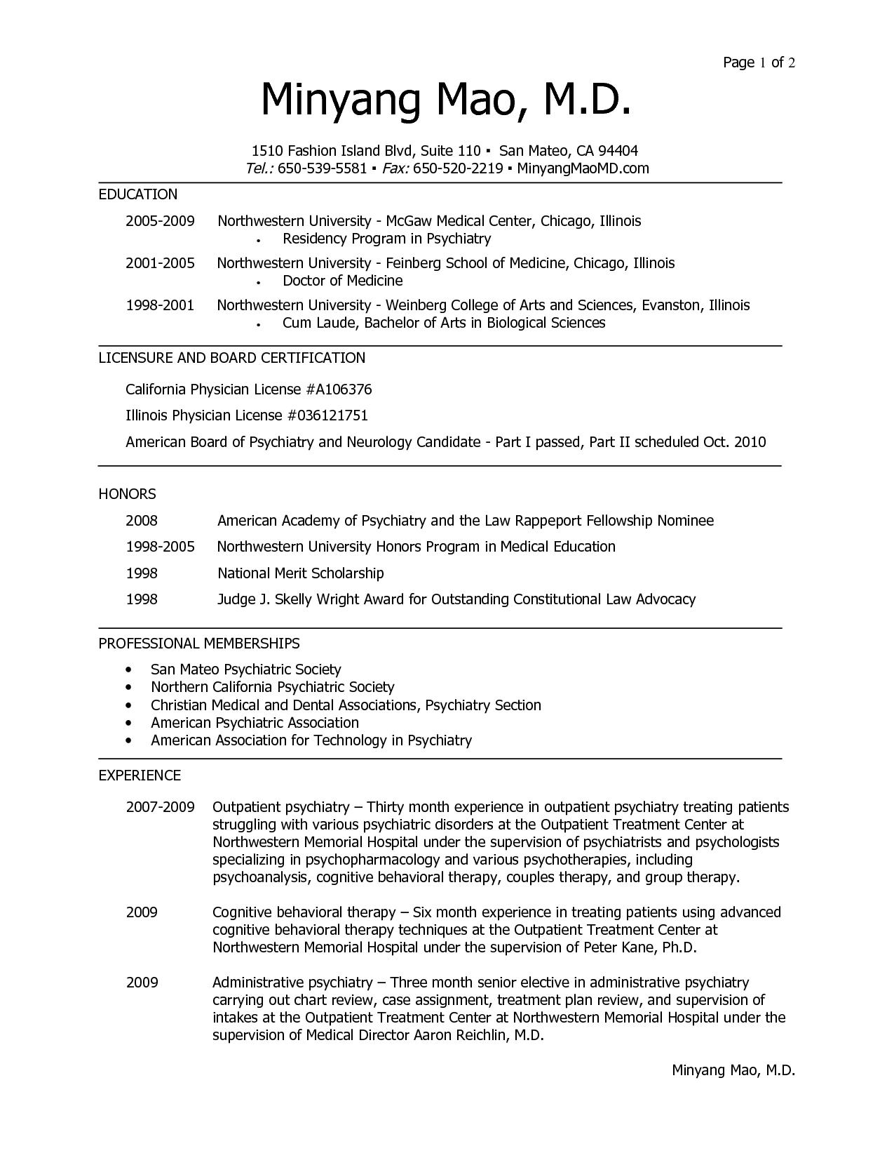 Cv Template Residency