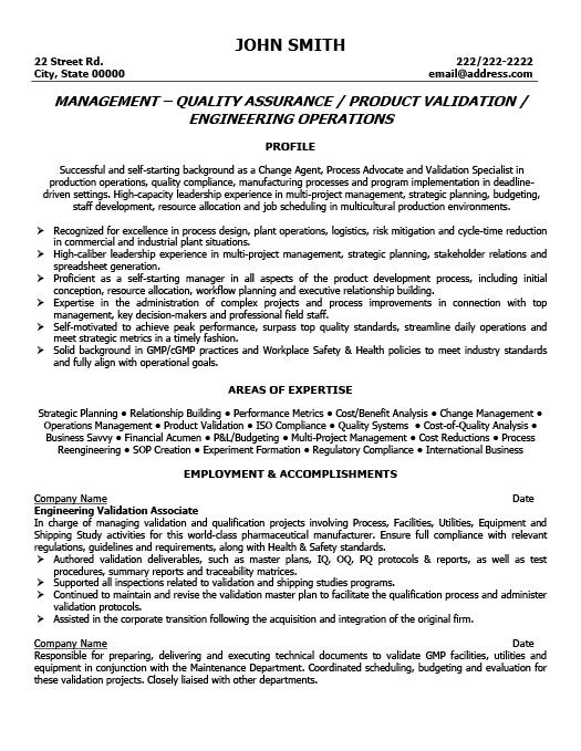 Cv Template Quality Manager