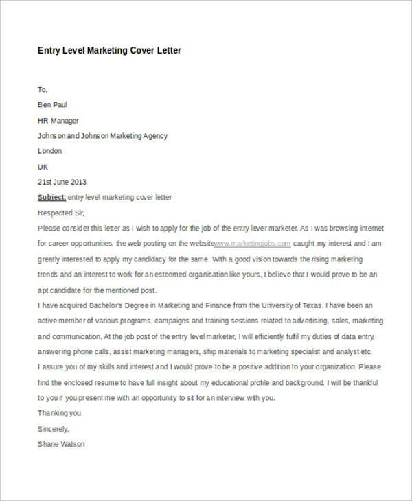 Cover Letter Template Digital Marketing