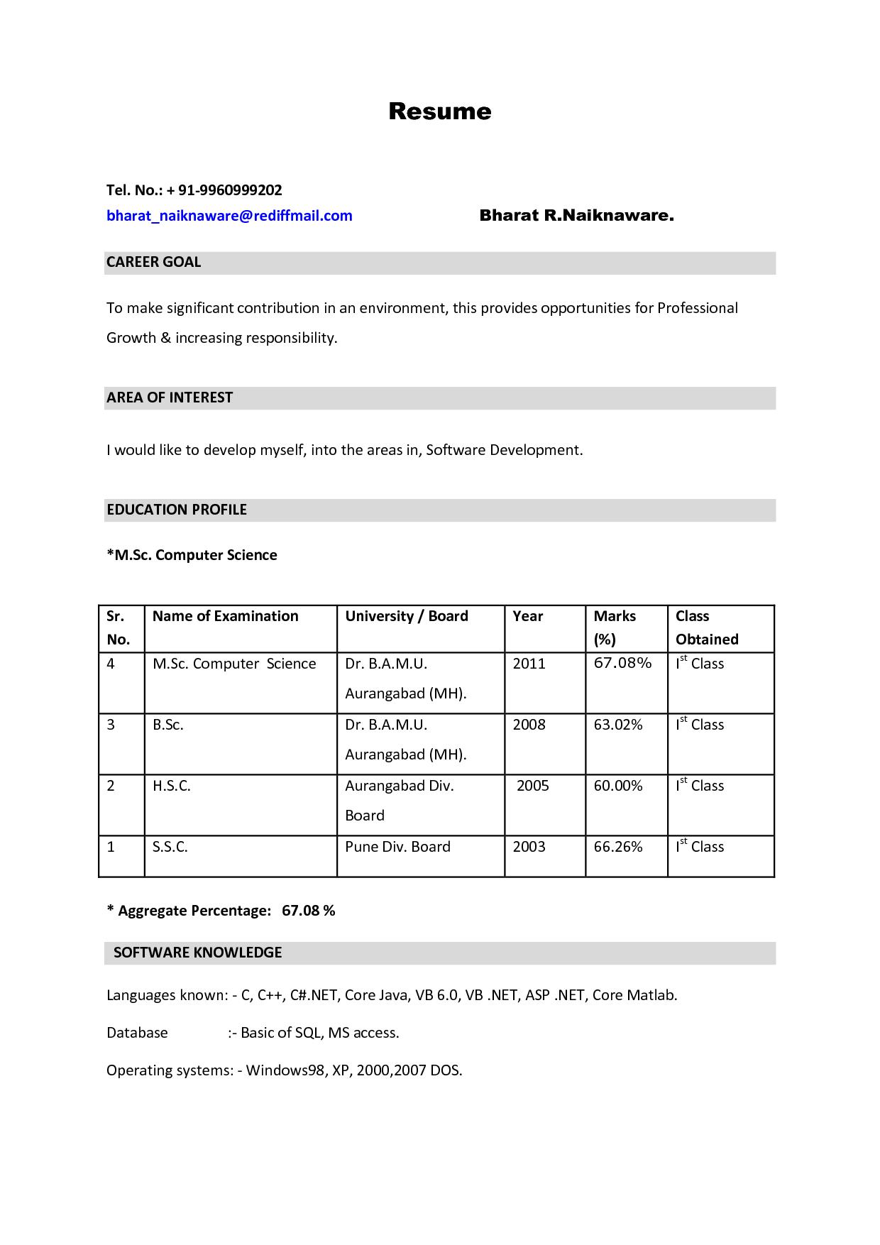 M Sc Nursing Resume Format
