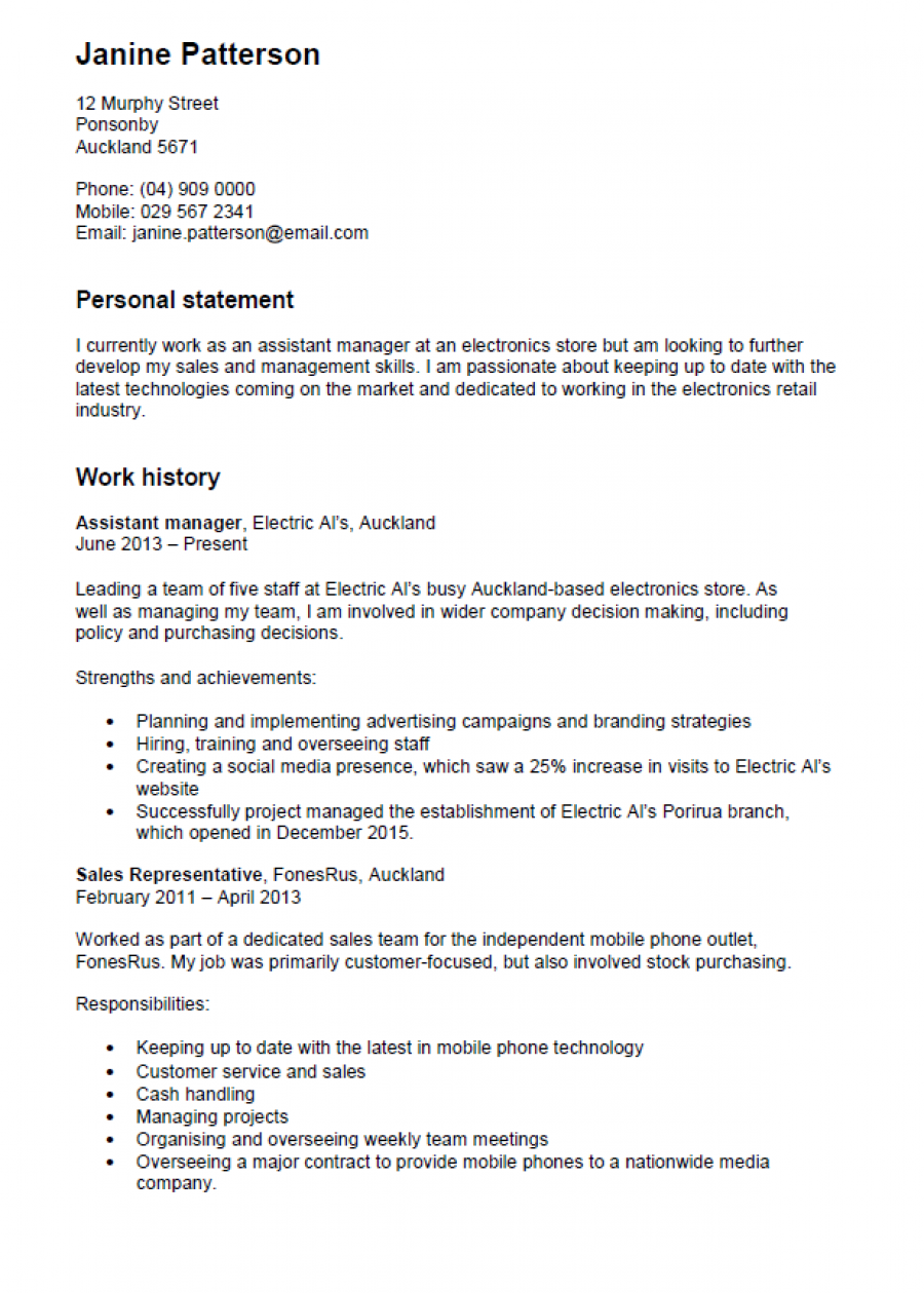 Cv Template New Zealand Resume Format