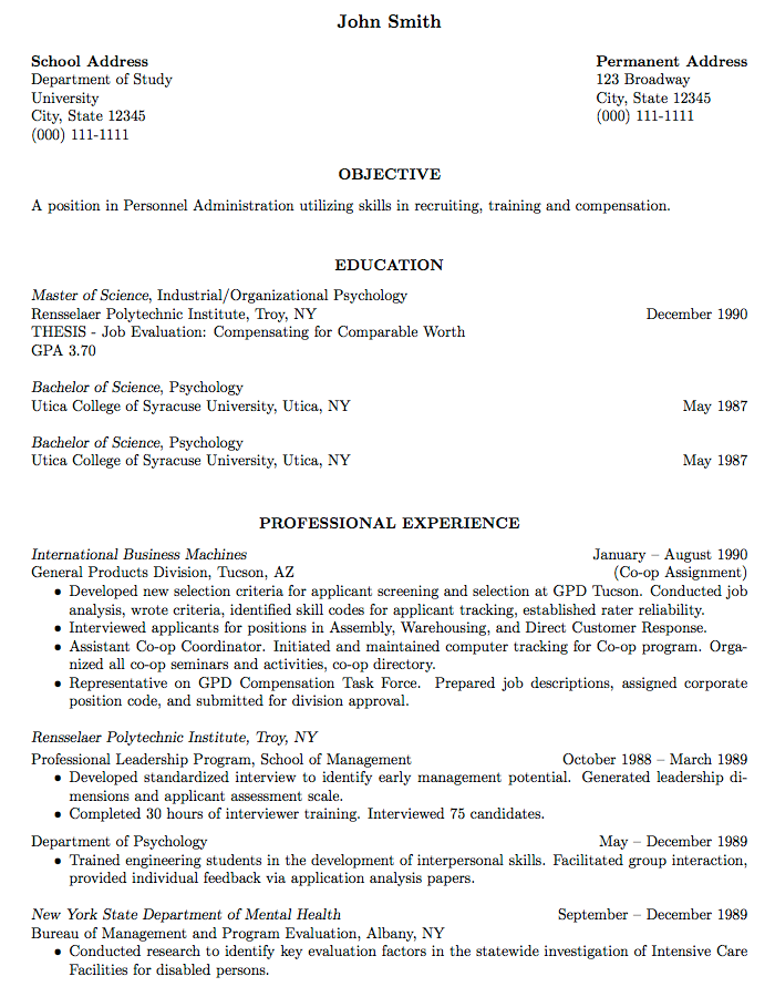 Resume Format Latex