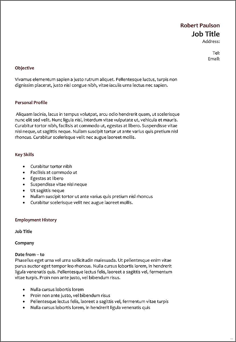 Resume Format Letter Size