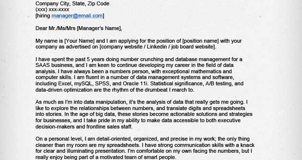 Cover Letter Template Data Analyst