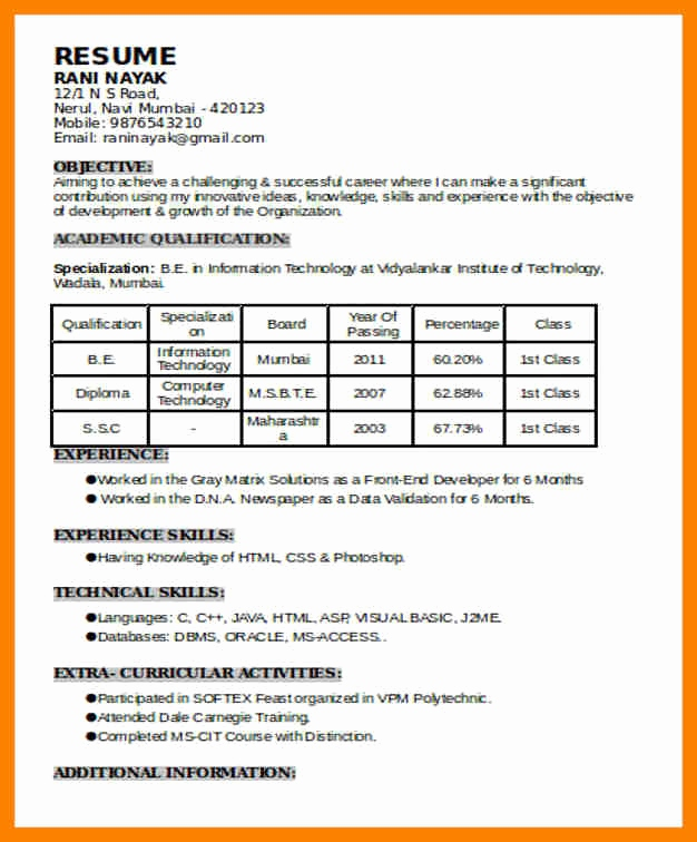 Resume Format For 6 Months Experience In Java