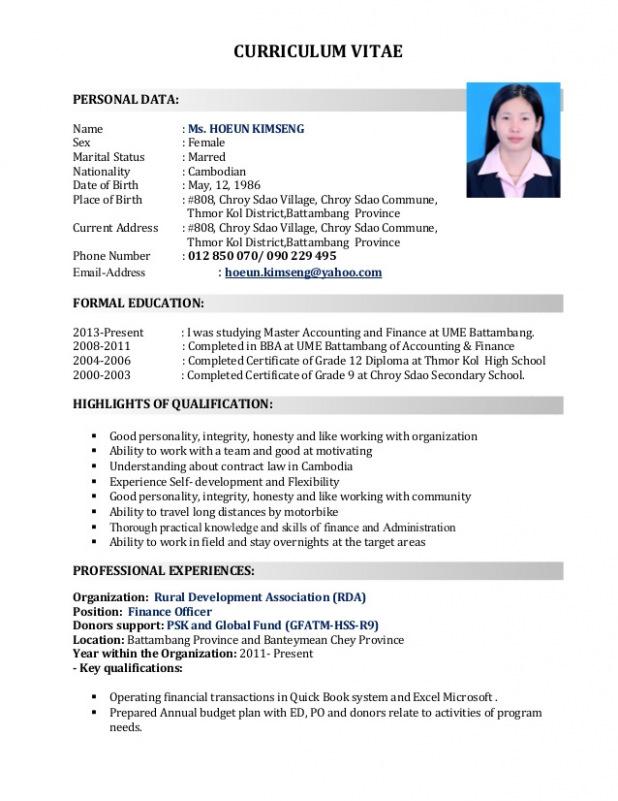 Cv Template Khmer Resume Format